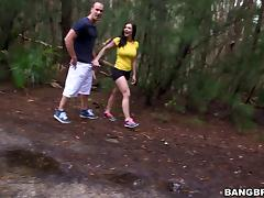 Curvy brunette Kendra Lust gets fucked in a forest and on the poolside tube porn video