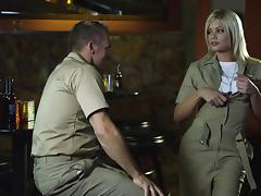 Naughty hot ass chick Riley Steele in military uniform gets fucked tube porn video