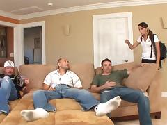 Amber Rayne gets her asshole slammed doggy style in a gangbang tube porn video