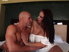 Gianna Michaels receives a hot and nasty cumshot load on her tits tube porn video