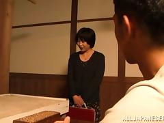 Mature Japanese skank admires a guy with her blowjob talent tube porn video