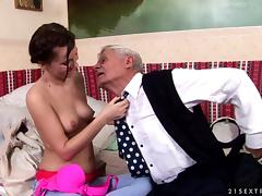 Captain grandpa nibbles nipples and drills young girl's coochie tube porn video