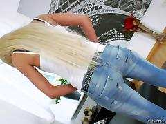 Hot solo model in jeans dildo bangs pussy and asshole tube porn video