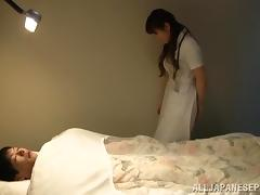 Japanese nurse in uniform gets her hairy pussy feasted doggystyle by patient tube porn video