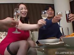 Mature Japanese cowgirl delivering a terrific titjob before having her hairy pussy drilled hardcore tube porn video