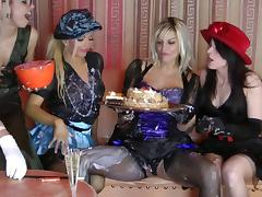 Elegant lesbian with nice ass in stocking getting messy using food in the party tube porn video